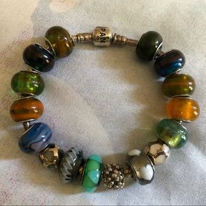Authentic Pandora Bracelet Jewelry with 16 Charms